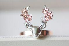 Sterling silver deer with flower ring rose gold deer by TedandMag