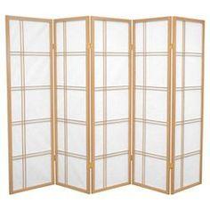 5 ft. Tall Double Cross Shoji Screen (5 Panels) - Oriental Furniture