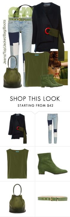 """Jeans/Top/Jacket/Bag/Boots"" by bodangela ❤ liked on Polyvore featuring Jacquemus, Simon Miller, Alice + Olivia, P.A.R.O.S.H., Anya Hindmarch and MSGM"
