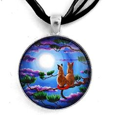 Siamese Cats in a Pine Tree Zen Necklace Handmade Jewelry ** Check this awesome product by going to the link at the image. (This is an affiliate link and I receive a commission for the sales)