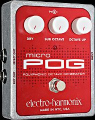 Electro Harmonix Micro Pog is an octave pedal with which you can blend the clean, octave down and octave up signals. Perfect polyphonic tracking too. Combined with a fuzz, this little can simulate a unison rhythm guitar very well.