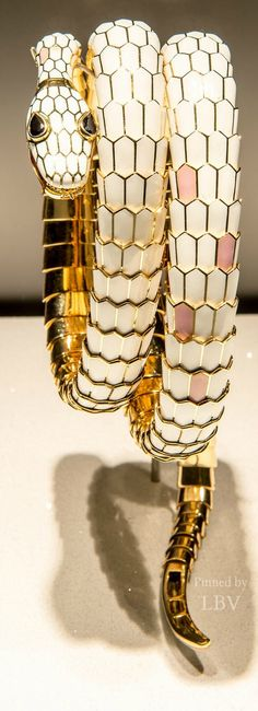 BVLGARI is famous for its glamorous gemstone jewelry, luxury watches, perfumes and leather goods. Snake Jewelry, Animal Jewelry, High Jewelry, Bling Jewelry, Jewelery, Jewelry Bracelets, Vintage Jewelry, Jewelry Accessories, Fashion Accessories