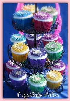 Bright Colored Cupcakes | Bright Colored Floral Cupcakes