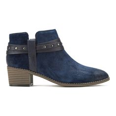 Clarks Women's Breccan Shine Suede Heeled Ankle Boots - Navy (£70) ❤ liked on Polyvore featuring shoes, boots, ankle booties, blue, strappy ankle boots, navy blue boots, studded boots, bootie boots and clarks booties