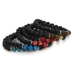 높은 품질 블랙 lava 돌 팔찌 팔찌 제국 구슬 스트레치 여성 남성 에너지 yoga 보석 선물 팔찌