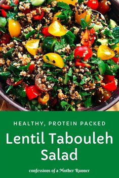 Lentil Tabouleh Salad Meatless Monday. An easy, healthy, vegan protein packed salad full of Mediterranean flavors #HealthySalads #LunchIdeas #Vegan #Vegetarian #ProteinPacked #PlantBased #Lentil #SummerSalads #FallSalads #HealthyEats Healthy Vegetable Recipes, Healthy Vegetables, Healthy Crockpot Recipes, Healthy Salad Recipes, Healthy Drinks, Easy Recipes, Healthy Dinner Recipes, Vegetarian Recipes, Vegan Vegetarian