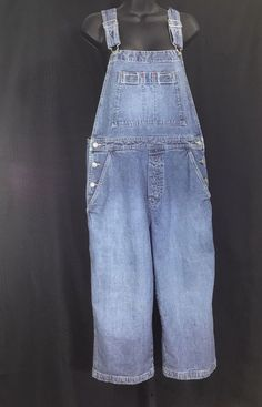 841aab5f11d Vintage Gap Overalls Cropped Medium Industrial Denim Wide Leg Carpenter Loop
