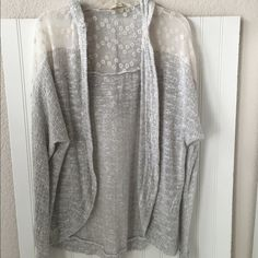 California Gypsy open cardigan Gray, lace details, excellent condition, non smoking home California Gypsy Sweaters Cardigans