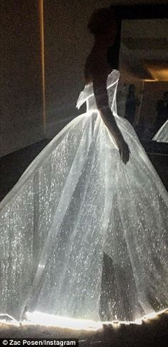 Glow in the dark: Posen showed off the gown to his Instagram followers in the moments leading up to the big gala
