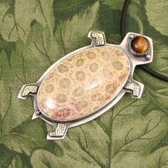 """Large Turtle Tortoise Pendant - """"I Live Protected"""" - Sterling with Fossil Coral, Tiger-Eye and Brass accents - OOAK by marybird on Etsy"""