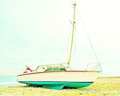 Vintage Sailboat Beach Art Print  - Teal Aqua Red White Beach Ocean Nautical Home Decor Photograph. $25.00, via Etsy.