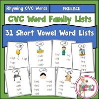 Free CVC Word Lists to put in a booklet or place on a ring. These are perfect for beginning readers and ESL students.
