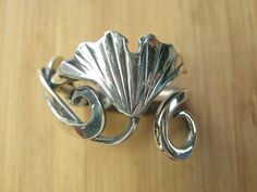 Sterling Silver Ginkgo and Spiral Adjustable Ring by CreativeEddy, $80.00