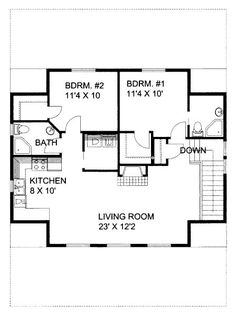 4 Car Garage Apartment Plan Number 86591 with 2 Bed, 2 Bath Garage Plan 86591 - 4 Car Garage Apartment Plan with 1092 Sq Ft, 2 Bed, 2 Bath Garage Guest House, Barn Garage, Garage House Plans, Small House Plans, House Floor Plans, Barn Apartment, Garage Apartment Plans, Garage Apartments, Apartment Living