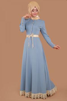 ** İNDİRDİKK ** Etek Ucu Dantel ve Kemerli Elbise  İndigo Ürün Kodu: MSW8138-S--> 94.50 TL