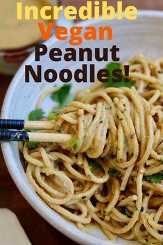 Vegan Asian Noodle Recipe, Asian Noodle Recipes, Vegan Comfort Food, Vegan Food, Delicious Vegan Recipes, Healthy Recipes, Vegan Stir Fry, Peanut Sauce Recipe, Noodle Dish