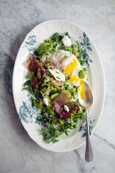 Peas and favas with prosciutto and eggs