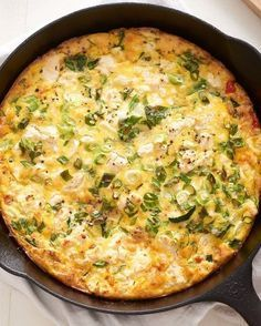 Recipe: The Easiest Cheese and Vegetable Frittata | A frittata is like the acoustic version of quiche: It's stripped down with no crust or cream, and baked in the same pan that the vegetables are cooked in. This is good news for those of us who dislike dishwashing and need a quick dinner. You'll want to sauté heartier vegetable like onions, peppers, or zucchini before building the frittata, so a cast iron pan is the best choice, as it can go from stovetop to oven like a pro.