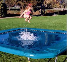 This trampoline is so cool. It is designed to hold a large amount of water without disrupting your ability to bounce.