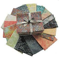 Buy Hoffman COCKATIEL HANDPAINTED BALI BATIKS Fat Quarter Bundle 16 Precut Cotton Fabric Quilting FQs Assortment FQBC... by Makaret