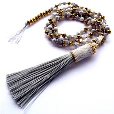 Long knotted necklace with beaded tassel by MomMa jewelry