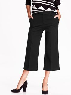 Cropped Trousers are appropriate for work when you pair with a modern heel (like the ones shown) and with a nicely patterned top
