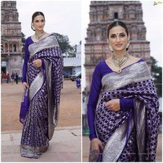 Designer Shilpa Reddy channeling a Classic Vintage Saree look, seen at Gudi Sambaraalu. Outfit - Shilpa Reddy Studio