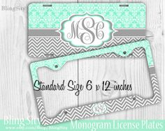 Mint Damask Monogram License Plate Frame Holder Gray Chevron Zig Zag Vintage Car Truck Tags Personalized Custom Vanity Aqua Teal Pink Coral by BlingSity on Etsy