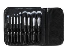 Dual Fiber - 9 Piece Brush Set with Black Brush Roll