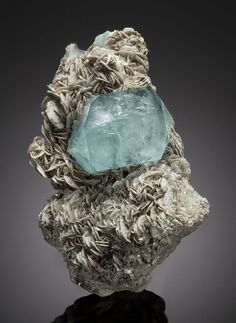 Aquamarine, Chumar Bakhoor, Hunza Valley, Gilgit District, Gilgit-Baltistan (Northern Areas), Pakistan. Overall Measurements: 9.25 x 6.25 x 5.25 inches (23.5 x 15.88 x 13.34 cm). Sold for $37,500.