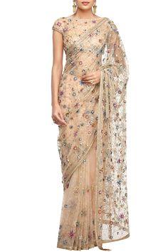 Ivory embroidered saree by Tarun Tahiliani | Carmaonline shop