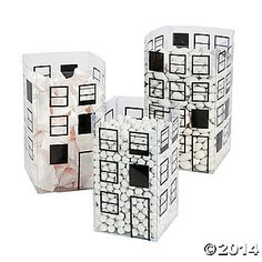 Cityscape Candy Buckets - lots of fun!  I would use colored candy, though.  $12 for 6 piece set