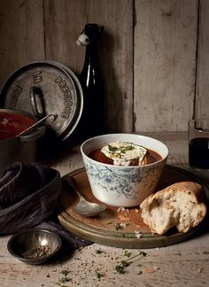 Roasted Tomato & Capsicum, Smoked Paprika & Basil Soup, with Melted Goat's Cheese Toasts from Katie Quinn Davies