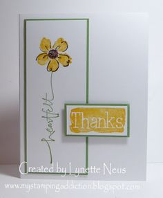 My Stamping Addiction: Heartfelt Thanks - and Thank U Cards, Handmade Thank You Cards, Greeting Cards Handmade, Stamping Up Cards, Rubber Stamping, Hand Stamped Cards, Making Greeting Cards, Card Sketches, Scrapbook Sketches