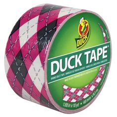 Duck Brand 280977 Pink Argyle Printed Duct Tape, 1.88-Inch by 10 Yards, Single Roll Duck