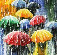 Umbrella Painting, Umbrella Art, Good Morning Images Flowers, Oil Pastel Art, Rain Art, Rainbow Painting, Madhubani Painting, Painted Leaves, Abstract Portrait