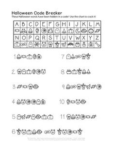 Here is another crytpo-style Halloween puzzle, but this one is for the younger solvers! All the words on this page have been encoded u. Diy Halloween Spell Book, Halloween Puzzles, Halloween Movie Night, Halloween Spells, Classroom Halloween Party, Halloween Words, Halloween Countdown, Easy Halloween Crafts, Halloween Pictures