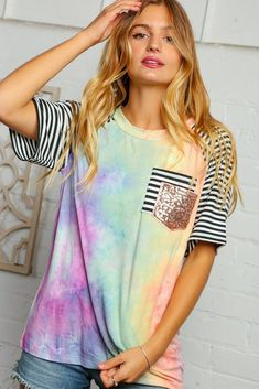 Tie Dye Raglan Double Sequins Pocket Top Comfortable Fashion, Plus Size Women, Girl Outfits, Tie Dye, Sequins, Tees, How To Wear, Loose Fit, Clothes
