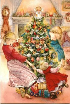 Lisi Martin Navidad, Christmas Eve and Christmas Trees Christmas Tree Art, Christmas Artwork, Christmas Scenes, Very Merry Christmas, Christmas Paintings, Vintage Christmas Cards, Christmas Greeting Cards, Christmas Pictures, Christmas Greetings