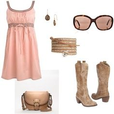 Peach dress, cowboy boots, sunglasses, earrings, bracelet, and purse