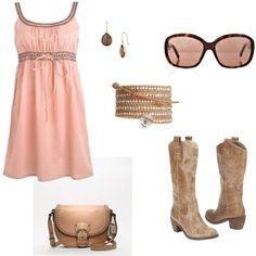 Peach dress, cowboy boots, sunglasses, earrings, bracelet, and purse