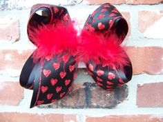 Jumbo X Large Black Sheer Red Glitter Hearts by karenscreations1, $11.98