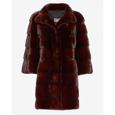 Yves Salomon High Collar Mink Fur Coat: Burgundy ($6,498) ❤ liked on Polyvore featuring outerwear, coats, mink coat, yves salomon, burgundy coat, mink fur coat and red coat