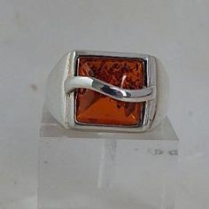 Ring - Amber & Sterling Silver - Size 10 - gaia rising metaphysical