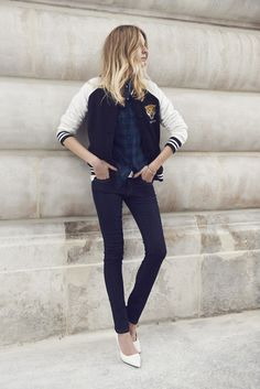 Best Outfit Ideas For Fall And Winter Description 60 ways to wear blue jeans -varsity jacket, plaid button up, skinny jeans + white heels Estilo Fashion, Look Fashion, Ideias Fashion, Fall Fashion, Net Fashion, Fashion Outfits, Street Fashion, Sporty Chic, Casual Chic