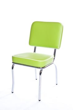 Cola Red Hudson Chair in Lively Leaf Lime Green with a Chalk White Trim... Check out cola-red.com for more retro diner furniture.