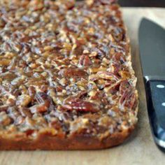 Pecan Cake Bars (I would use Karo syrup instead of honey)