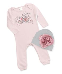Loving this Tesa Babe Blush & Gray Floral 'Little Sister' Playsuit & Beanie on #zulily! #zulilyfinds