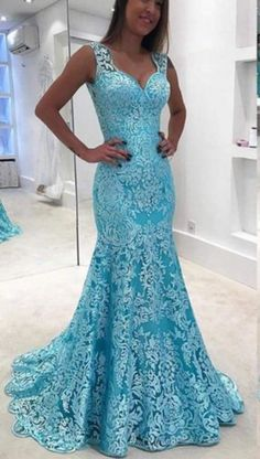 Sexy Sheer Backless Blue Lace Evening Dresses Newest Mermaid V Neck Prom Gowns Party Dress Floor Lengt Backless Evening Gowns, Sexy Evening Dress, Lace Evening Dresses, Lace Dress, Formal Dresses, Party Dresses, Mermaid Prom Dresses, Homecoming Dresses, Bridesmaid Dresses