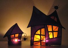 Haunted house tea light candle holder w/ stained glass (so cool!)